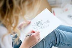 Obrazu hobby osobowości talentu dziewczyny pomysłowo remis obrazy royalty free