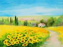 Obrazu olejnego krajobraz - pole słoneczniki ilustracja wektor