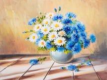 Obrazu olejnego wciąż życie, bukiet kwiaty na drewnianym stole Fotografia Stock