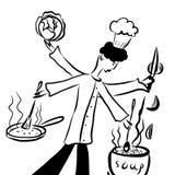 Obrazuje rysunkowej kreskówki komiczną fantazję, wręczającą szef kuchni przygotowywa jarzynową polewkę z pieczenią w kotle outdoo Zdjęcie Royalty Free