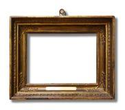 Obrazuje złocistą drewnianą ramę dla projekta na białym odosobnionym tle obrazy stock