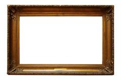 Obrazuje złocistą drewnianą ramę dla projekta na białym tle fotografia stock