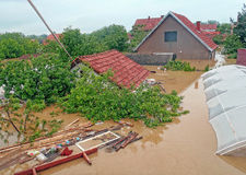 Obrenovac Serbia - May 16, 2014. Floods. OBRENOVAC, SERBIA - MAY 16, 2014: House, and street in Obrenovac under water. The water level of Sava River remains high Royalty Free Stock Photos