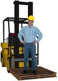 Obrero industrial, carretilla elevadora, aislada imágenes de archivo libres de regalías