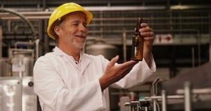 Obrero que examina una botella de cristal en la planta de embotellamiento almacen de video