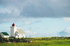 Obrestad灯塔在挪威 免版税库存图片
