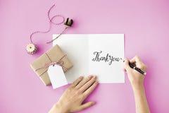 Obrigado agradece ao presente apreciam o conceito da gratitude fotografia de stock royalty free