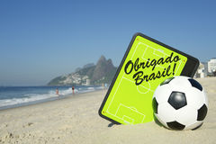 Obrigado Brasil Soccer Football Tactics Board Rio de Janeiro. Obrigado Brasil Thank You Brazil football tactics board with soccer ball at Ipanema Beach Rio de Stock Images