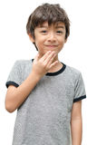 Obrigado caçoar a linguagem gestual da mão no fundo branco Foto de Stock Royalty Free
