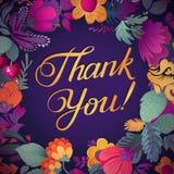 Obrigado cardar em cores brilhantes Fundo floral à moda com texto, bagas, folhas e flor ilustração do vetor