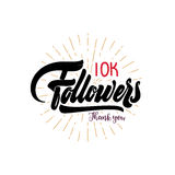 Obrigado cartaz de 10000 seguidores Você pode usar trabalhos em rede sociais O usuário de Web comemora um grande número subscrito Imagem de Stock