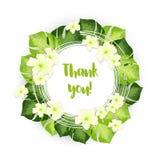 Obrigado circundar o quadro das folhas verdes com as flores brancas ilustração royalty free