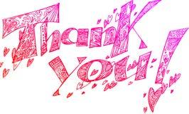 OBRIGADO garatujas esboçado cor-de-rosa ilustração royalty free