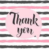 Obrigado inscrição escrita à mão Rotulação tirada mão Obrigado caligrafia Obrigado cardar Ilustração à moda da forma Imagens de Stock Royalty Free