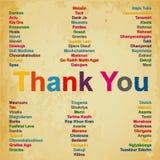 Obrigado no ‹do †do ‹do †de 74 línguas no fundo do mundo Ilustração Stock