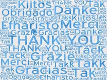 Obrigado palavras em línguas diferentes como o fundo fotografia de stock