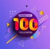 Obrigado primeiros 100 seguidores ilustração stock