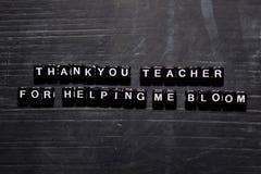 Obrigado professor ajudando me florescer em blocos de madeira Conceito da educa??o, da motiva??o e da inspira??o ilustração do vetor
