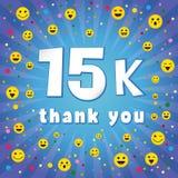 Obrigado 15 000 seguidores de k ilustração stock
