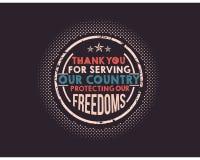 obrigado servindo nosso país que protege nossas liberdades ilustração do vetor