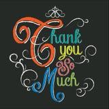 Obrigado tanto entregar a rotulação do giz colorido no fundo preto Imagem de Stock Royalty Free