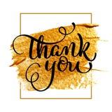 Obrigado texto do dia no fundo acrílico do ouro Ilustração tirada mão EPS10 do vetor da rotulação da caligrafia ilustração do vetor