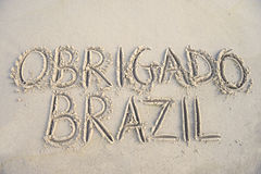 Obrigado Thank You Brazil Message in Sand Stock Photo
