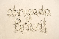 Obrigado Thank You Brazil Message in Sand Stock Image