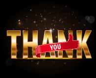 Obrigado, tipografia dourada com os polegares acima do sinal Imagem de Stock Royalty Free