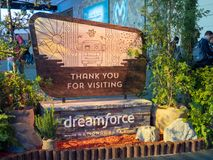 Obrigado visitando o sinal do parque nacional de Dreamforce dentro da conferência de Salesforce Dreamforce imagens de stock royalty free