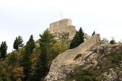 Obrovac fortress. Obrovac, Croatia. View of ancient Fortress above the city Royalty Free Stock Photography