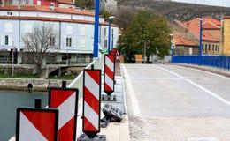 Obrovac main bridge under construction. Obrovac, Croatia. View of bridge over Zrmanja river Stock Photography