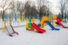 Obruszenie przy boiskiem w zimie fotografia royalty free