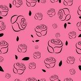 Obrysowywa bezszwowego wzór róże Zdjęcie Royalty Free