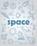 Obrysowywa set ikony na temat lota kosmicznego i astronomii, błękit konturowe ikony na książki prześcieradle w klatce Zdjęcie Royalty Free