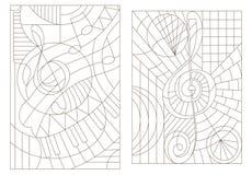 Obrysowywa set ilustracje na temacie muzyka z treble clef Zdjęcia Stock