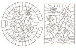 Obrysowywa set z ilustracjami witraż z jesieni życiem, gałąź w wazach i owoc wciąż, ilustracja wektor
