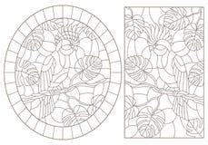 Obrysowywa set z ilustracjami witraż Windows z kakadu papugami siedzi na gałąź tropikalni drzewa, zmrok c ilustracja wektor