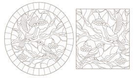 Obrysowywa set z ilustracjami witraży ptaki, gile na gałąź śnieżyści halnego popiółu zmroku kontury dalej ilustracja wektor