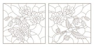 Obrysowywa set z ilustracjami witraż z sprig orchidee, motyl i Hummingbird, ciemny kontur na bielu Zdjęcia Royalty Free