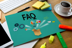 Obsług Klienta FAQs, FAQ pytania informacja Aske Dobrowolnie fotografia stock