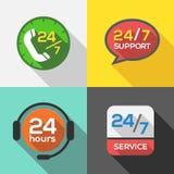 Obsługa Klienta 24 godziny poparcie ikony Obrazy Royalty Free