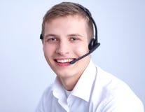 Obsługa klienta operator z słuchawki na bielu Obraz Stock