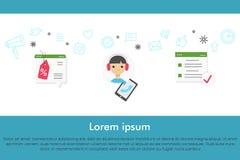 Obsługa klienta sztandaru pojęcie z infographics elementami Zdjęcia Stock