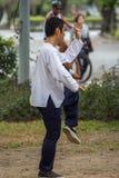 Obsługuje ćwiczyć Tai Chi w plenerowym parku Obraz Stock