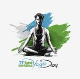 Obsługuje ćwiczy joga pozę, 21st Czerwa joga międzynarodowy dzień Zdjęcia Royalty Free