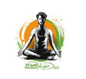 Obsługuje ćwiczy joga pozę, 21st Czerwa joga międzynarodowy dzień Royalty Ilustracja