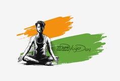 Obsługuje ćwiczy joga pozę, 21st Czerwa joga międzynarodowy dzień Ilustracji