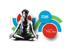 Obsługuje ćwiczy joga pozę, 21st Czerwa joga międzynarodowy dzień Ilustracja Wektor