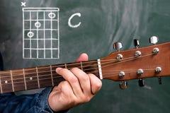 Obsługuje bawić się gitara akordy wystawiających na blackboard, akord C fotografia stock